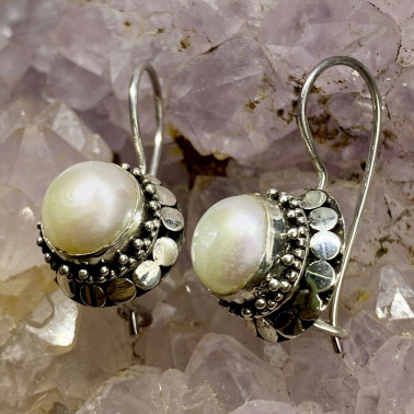 ER 01203 PL-(HANDMADE 925 BALI SILVER FILIGREE EARRINGS WITH PEARL)