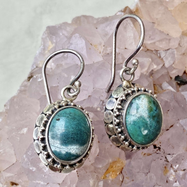 ER 01203 TQ-(HANDMADE 925 BALI STERLING SILVER EARRINGS WITH TURQOUISE)