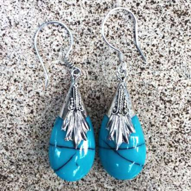 ER 01719 TQ-(HANDMADE 925 BALI SILVER EARRINGS WITH TURQUOISE)