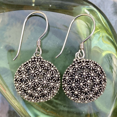 ER 02453 B-(HANDMADE 925 BALI STERLING SILVER FILIGREE EARRINGS)