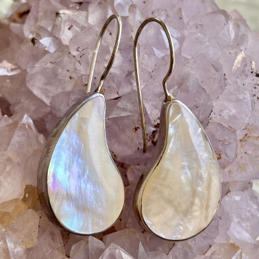 ER 04886 MP-(HANDMADE 925 BALI STERLING SILVER EARRINGS WITH MOTHER OF PEARL)