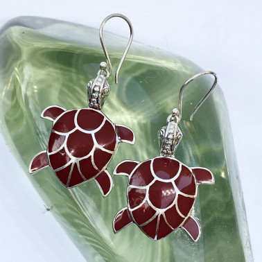 ER 05326 CR-(HANDMADE 925 BALI SILVER TURTLE EARRINGS WITH CORAL)