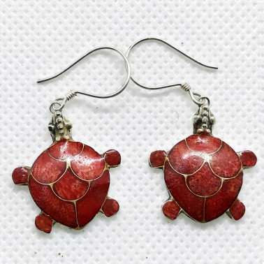 ER 05326 S-CR-(SMALL HANDMADE 925 BALI SILVER TURTLE EARRINGS WITH CORAL)