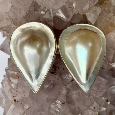 ER 05886 C-(HANDMADE 925 BALI SILVER CLIP ON EARRINGS WITH PEAR SHAPE MABE PEARL)