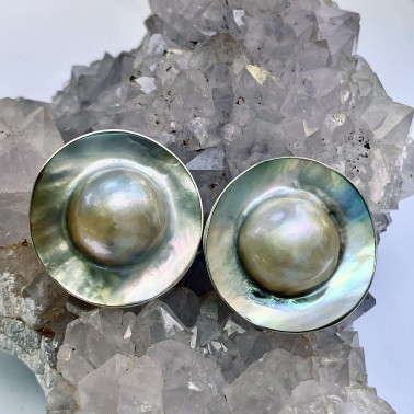 ER 05886 B-HANDMADE 925 BALI  STERLING SILVER CLIP ON EARRINGS WITH ROUND MABE SHELL