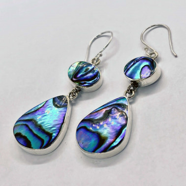 ER 06102 AB-(HANDMADE 925 BALI SILVER EARRINGS WITH ABALONE)