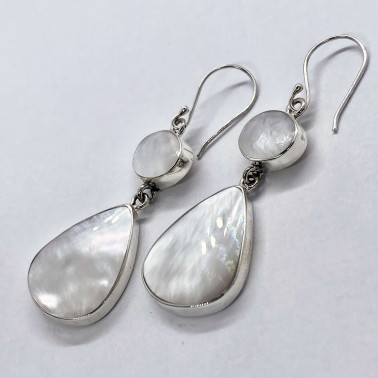 ER 06102 MP-(HANDMADE 925 BALI SILVER EARRINGS WITH MOTHER OF PEARL)