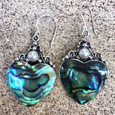 ER 06236 AB-(HANDMADE 925 BALI SILVER EARRINGS WITH ABALONE SHELL)
