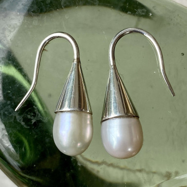 ER 07082 PL-(HANDMADE 925 BALI STERLING SILVER EARRINGS WITH PEARL)