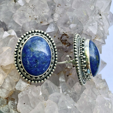 ER 07590 LP-(HANDMADE 925 BALI SILVER FILIGREE EARRINGS WITH LAPIS LAZULI)