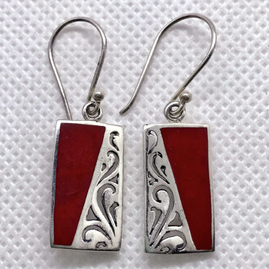 ER 07815 CR-(HANDMADE 925 BALI SILVER EARRINGS WITH CORAL)