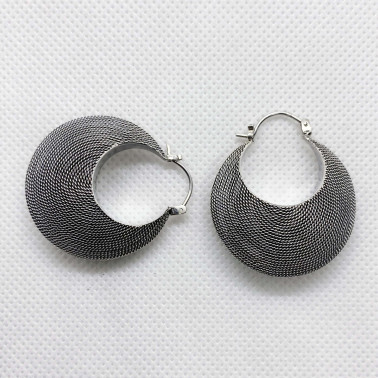 ER 08013 M-(25 MM-UNIQUE 925 BALI SILVER TWISTED WIRED DOOM EARRINGS)