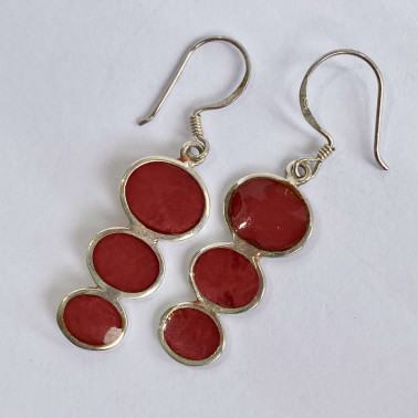 ER 08064 CR-(BALI 925 STERLING SILVER EARRINGS WITH CORAL)