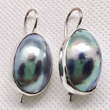 ER 08090 NT-(HANDMADE 925 BALI SILVER EARRINGS WITH COKLY NAUTILUS SHELL)