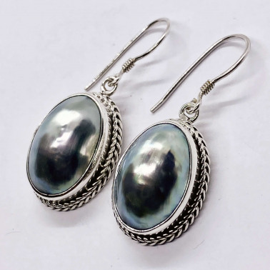 ER 08370 A-(HANDMADE 925 BALI SILVER EARRINGS WITH NAUTILUS COKLY SHELL)