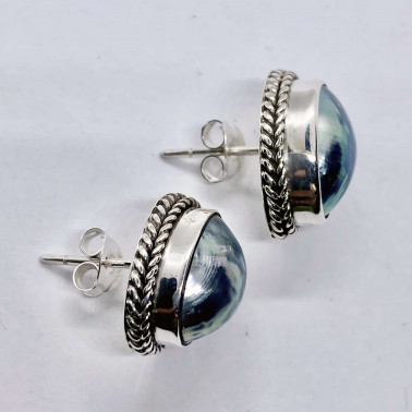 ER 08370 B-(HANDMADE 925 BALI SILVER STUD EARRINGS WITH NAUTILUS COKLY SHELL)