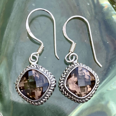ER 08370 SQ-(HANDMADE 925 BALI STERLING SILVER EARRINGS WITH SMOKEY)