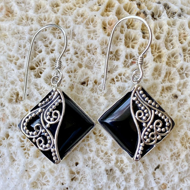 ER 08511 OX-(Handmade Unique 925 Bali Silver Filigree Earrings with Black Onyx)