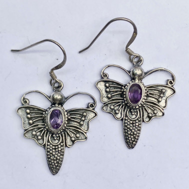 ER 08743 AM-(BALI 925 STERLING SILVER BUTTERFLY EARRINGS WITH AMETHYST)