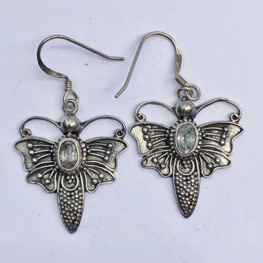 ER 08743 BT-(BALI 925 STERLING SILVER BUTTERFLY EARRINGS WITH TOPAZ)