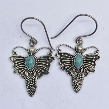 ER 08743 TQ-(BALI 925 STERLING SILVER BUTTERFLY EARRINGS WITH TURQUOISE)