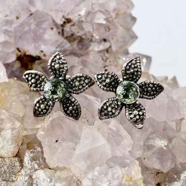 ER 08907 A-BT-(UNIQUE 925 BALI SILVER DAISY EARRINGS WITH TOPAZ)