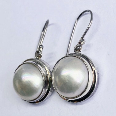 ER 09043 B-WPL-(HANDMADE 925 BALI SILVER EARRINGS WITH MABE PEARL)
