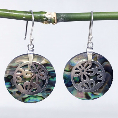 ER 09594 AB-(925 BALI SILVER DAISY EARRINGS WITH ABALONE)