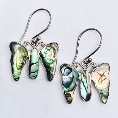ER 09906 AB-(925 BALI SILVER BUTTERFLY EARRINGS WITH ABALONE SHELL)