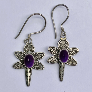 ER 10077 AM-(BALI 925 STERLING SILVER DRAGONFLY EARRINGS WITH AMETHYST)