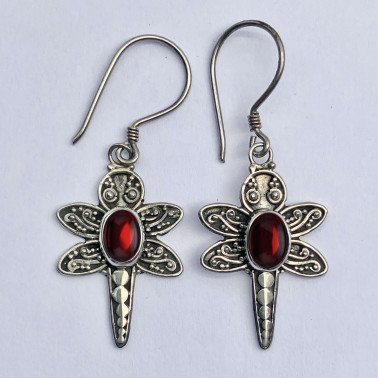ER 10077 GR-(BALI 925 STERLING SILVER DRAGONFLY EARRINGS WITH GARNET)