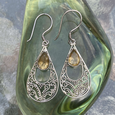 ER 10145 CT-(HANDMADE 925 BALI STERLING SILVER EARRINGS WITH CITRINE)