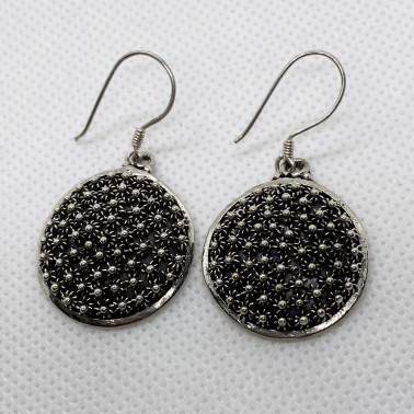 ER 10165-(UNIQUE 925 BALI STERLING SILVER FILIGREE EARRINGS)