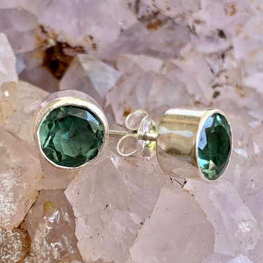ER 10337 A-GQ-(HANDMADE 925 BALI STERLING SILVER EARRING WITH GREEN QUARTZ)
