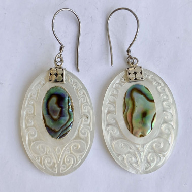 ER 10539 AB-(925 BALI SILVER HAND CARVING EARRINGS WITH ABALONE)