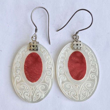 ER 10539 CR-(925 BALI SILVER HAND CARVING EARRINGS WITH CORAL)