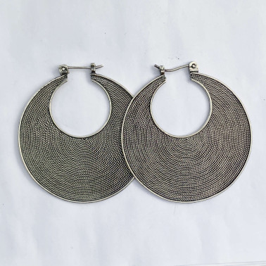 ER 11026 L-(925 BALI SILVER TWISTED WIRED EARRINGS 40 MM)