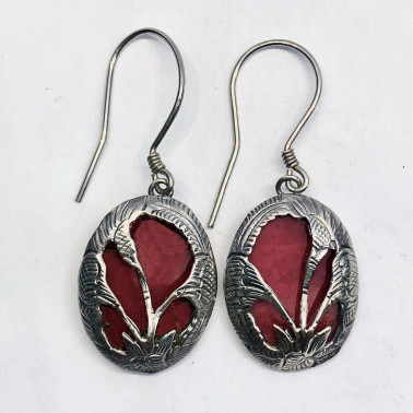ER 11096 CR-(HANDMADE 925 BALI SILVER LOTUS FLOWER EARRINGS WITH CORAL)