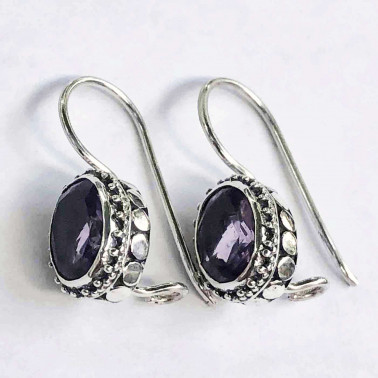 ER 11179 B-AM-(UNIQUE 925 BALI SILVER DOT EARRINGS WITH AMETHYST)