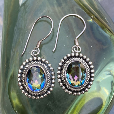 ER 11229 MT-(HANDMADE 925 BALI STERLING SILVER EARRINGS WITH MYSTIC TOPAZ)