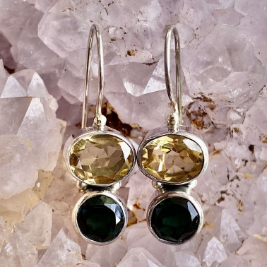 ER 11279 CT-GQ-(HANDMADE 925 BALI STERLING SILVER EARRINGS WITH CITRINE, GREEN QUARTZ)