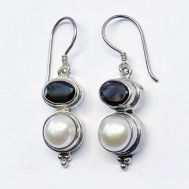 ER 11279 PL-GR-(HANDMADE 925 BALI STERLING SILVER EARRINGS WITH PEARL GARNET)