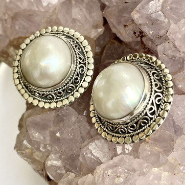 ER 11288 B-PL-(HANDMADE 925 BALI SILVER EARCLIP EARRINGS WITH MABE PEARL)