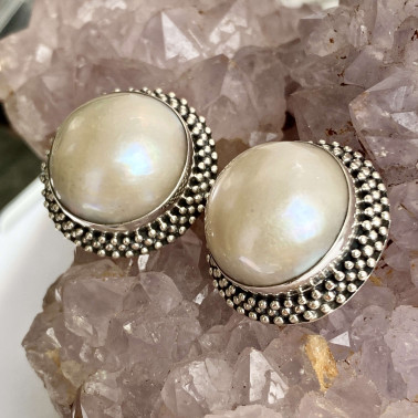 ER 11288 PL-(HANDMADE 925 BALI SILVER EARCLIP EARRINGS WITH MABE PEARL)