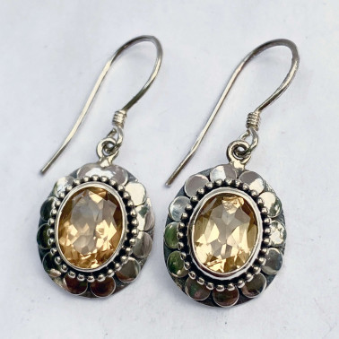 ER 11433 B-CT-(OVAL 925 BALI SILVER ARMADILLO EARRINGS WITH CITRINE)