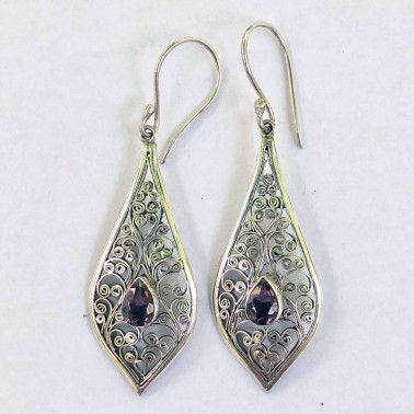 ER 11558 AM-(UNIQUE 925 BALI SILVER FILIGREE EARRINGS WITH AMETHYST)