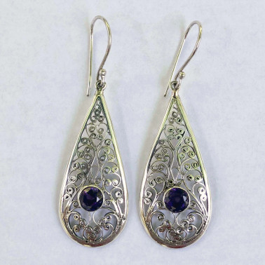 ER 11558 B-AM-(UNIQUE 925 BALI SILVER FILIGREE EARRINGS WITH AMETHYST)