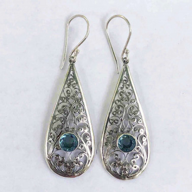 ER 11558 B-BT-(UNIQUE 925 BALI SILVER FILIGREE EARRINGS WITH BLUE TOPAZ)
