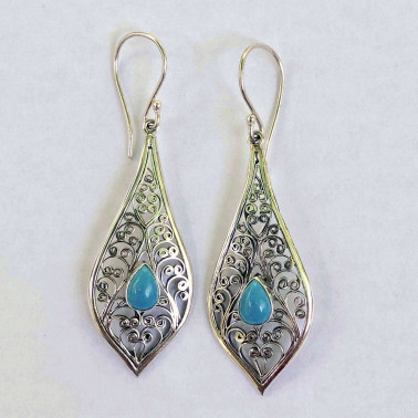 ER 11558 TQ-(UNIQUE 925 BALI SILVER FILIGREE EARRINGS WITH TURQUOISE)