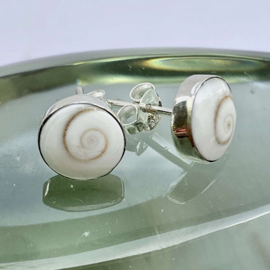 ER 11566 B-(UNIQUE 925 BALI SILVER EARRINGS WITH SHIVA EYES SHELL)